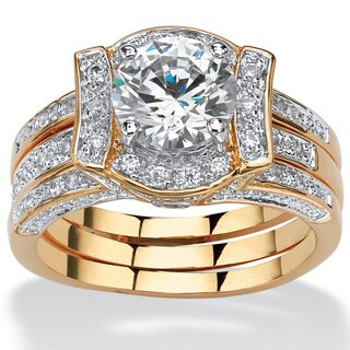 PalmBeach CZ 14k Gold Overlay 2 3/8ct TGW CZ Wedding-style Ring Set Glam CZ