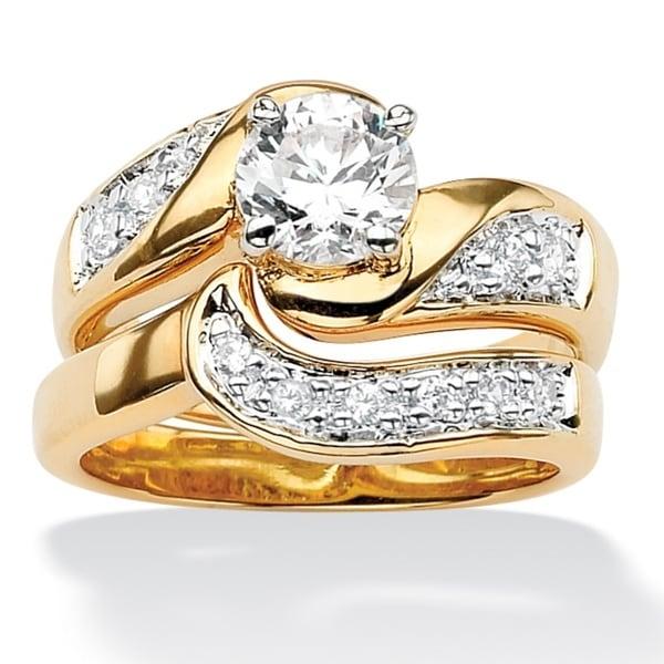 PalmBeach Round Cubic Zirconia 14k Gold-Plated Swirled Bridal Engagement Ring Wedding Band Set Classic CZ