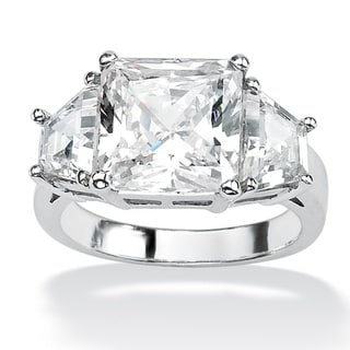 PalmBeach CZ Platinum over Sterling Silver Cubic Zirconia Ring Glam CZ