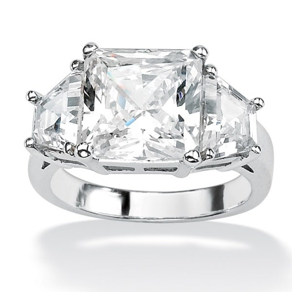 PalmBeach 6.31 TCW Princess-Cut Cubic Zirconia Platinum over Sterling Silver 3-Stone Bridal Engagement Ring Glam CZ