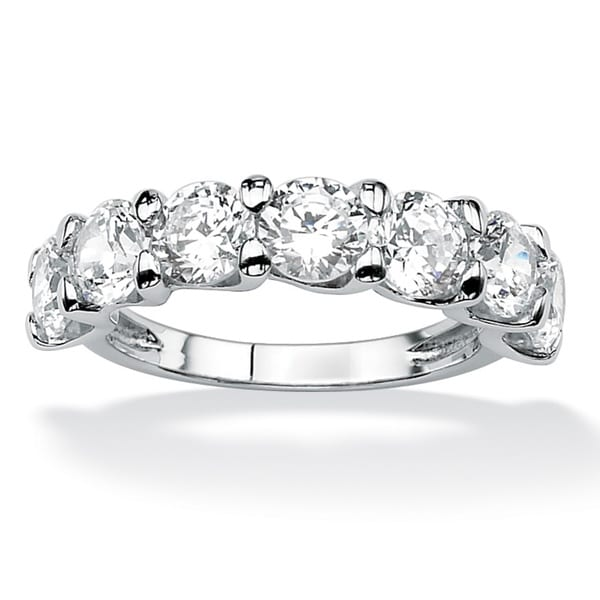 PalmBeach 3.50 TCW Round Cubic Zirconia Wedding Band in Platinum Over .925 Sterling Silver Classic CZ
