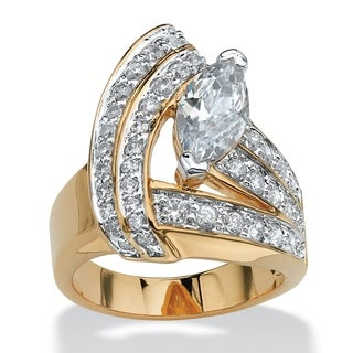 PalmBeach 3.08 TCW Marquise-Cut Cubic Zirconia 14k Gold-Plated Wrap Ring Glam CZ