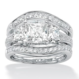 Ultimate CZ Platinum over Silver CZ Wedding Ring Set