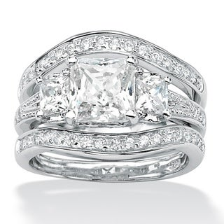 PalmBeach CZ Platinum over Silver CZ Wedding Ring Set Glam CZ