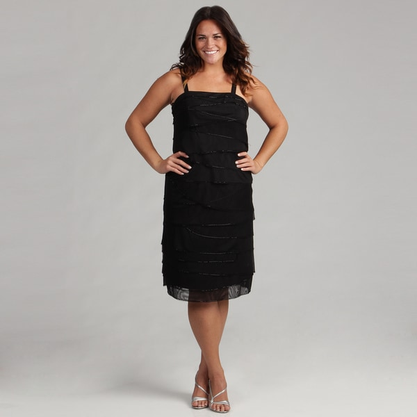 Issue New York Women's Plus Black Mesh Layer Dress