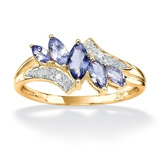 Angelina D'Andrea Gold over Silver Tanzanite and Diamond Accent Ring