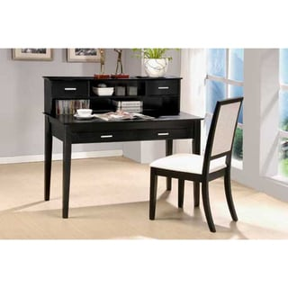 Black Grain Veneer 2-piece Writing Desk and Chair Set
