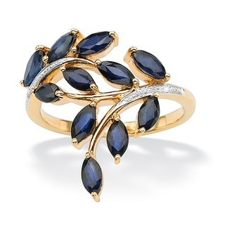 Angelina D'Andrea 18k Gold over Silver 2.65ct TW Sapphire and Diamond Accent Ring