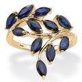 Angelina D&#39;Andrea 18k Gold over Silver 2.65ct TW Sapphire and Diamond Accent Ring