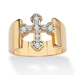Ultimate CZ 14k Gold Overlay Cubic Zirconia Cross Ring