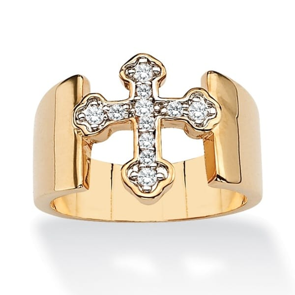 PalmBeach Round Cubic Zirconia Accent Cross Band in Yellow Gold Tone Glam CZ