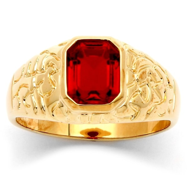 PalmBeach Men's Emerald-Cut Ruby Nugget Style Ring in 14k Gold-Plated