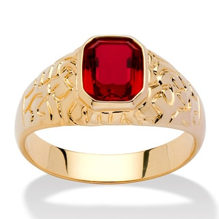 Neno Buscotti Men&#39;s Simulated Ruby Nugget-Style Ring in 14k Gold-Plated