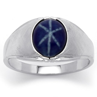 Neno Buscotti Men's Simulated Blue Ring in Silvertone Metal