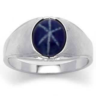 PalmBeach Men's Simulated Blue Ring in Silvertone Metal