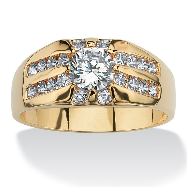 PalmBeach Men's 2.95 TCW Round Cubic Zirconia 14k Yellow Gold-Plated Classic Ring Sizes 14-16