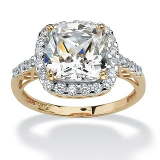 PalmBeach 3.20 TCW Cushion-Cut Cubic Zirconia Cutout Halo Engagement Ring in 10k Yellow Gold Glam CZ