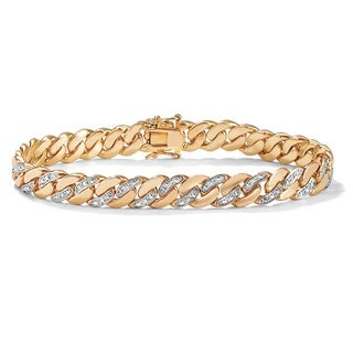 PalmBeach 18k Gold-plated Men's Diamond Accent Curb Link Bracelet