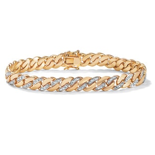 PalmBeach Men's Diamond Accent 9 mm Curb-Link Bracelet 18k Yellow Gold-Plated 8.5""