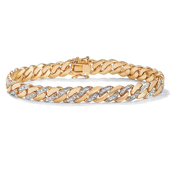 "PalmBeach Men's Diamond Accent 9 mm Curb-Link Bracelet 18k Yellow Gold-Plated 8.5"""