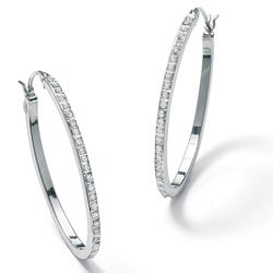 PalmBeach Platinum/Silver Diamond Accent Oval Hoop Earrings