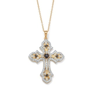 Isabella Collection 18k Gold over Silver Midnight Blue Sapphire and Diamond Cross Pendant