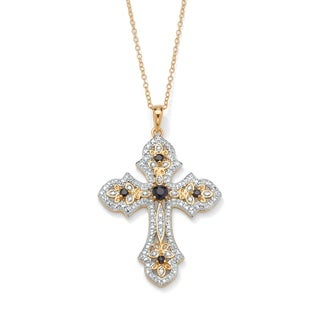 PalmBeach 18k Gold over Silver Midnight Blue Sapphire and Diamond Cross Pendant