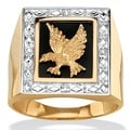 Neno Buscotti 18k Gold over Sterling Silver Men's Diamond Accent Onyx Eagle Ring