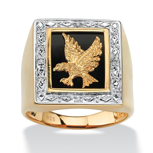 PalmBeach 18k Gold over Sterling Silver Men's Diamond Accent Onyx Eagle Ring