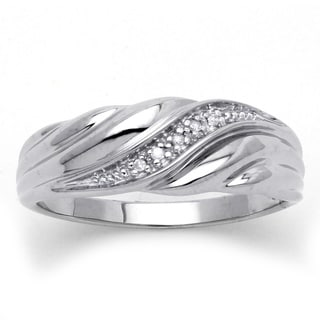 PalmBeach Platinum over Silver Diamond Accent Wedding Band Men's