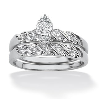 PalmBeach Platinum over Silver Diamond Ring (G-H, I2-I3)