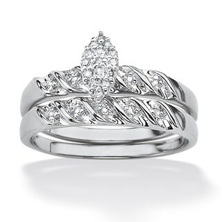Isabella Collection Platinum over Silver Diamond Ring (G-H, I2-I3)