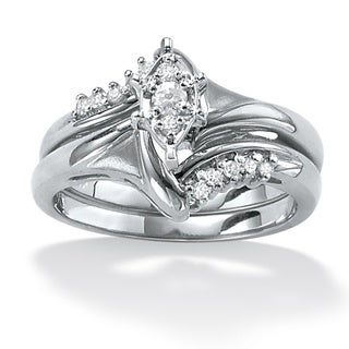 Isabella Collection Platinum/ Silver 1/5ct TDW Diamond Bridal Ring Set (H-I, I2-I3)