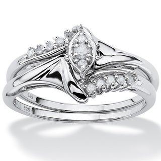 PalmBeach 1/5 TCW Round Diamond Two-Piece Bridal Set in Platinum over .925 Sterling Silver