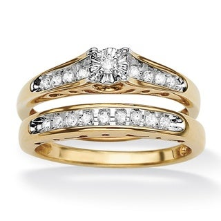 Isabella Collection 18k Gold over Silver Diamond Bridal Set (G-H, I2-I3)