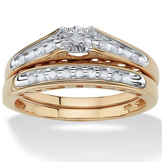 PalmBeach 1/5 TCW Round Diamond Channel-Set Two-Piece Bridal Set in 18k Gold over .925 Sterling Silver