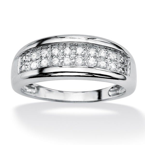 PalmBeach Platinum over Silver Pave Diamond Ring