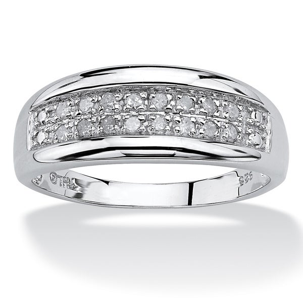 PalmBeach 1/4 TCW Round Diamond Platinum over Sterling Silver Channel-Set Double-Row Anniversary Wedding Ring
