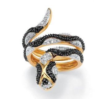 Isabella Collection 18k Gold over Silver Black Diamond Snake Ring