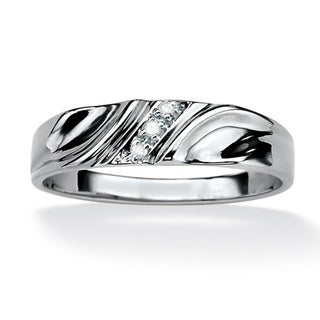 PalmBeach Platinum over Silver Men's Diamond Accent Wedding Band