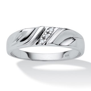 Isabella Collection Platinum over Silver Men&#39;s Diamond Accent Wedding Band
