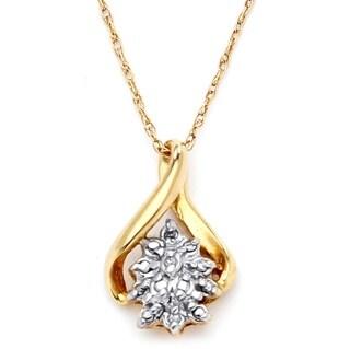 PalmBeach 10k Gold Diamond Cluster Pendant
