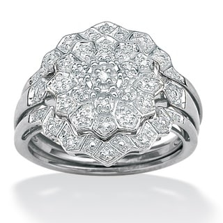 PalmBeach Platinum/ Silver 1/6ct TDW Diamond Ring Set (H-I, I2-I3) Diamonds & Gems