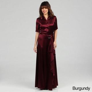 Issue New York Women's Long Satin Shirt Dress