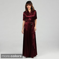 Issue New York Women's Long Satin Shirt Dress