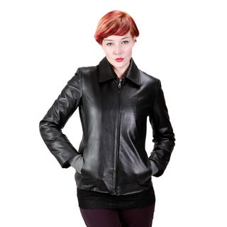 United Face Women's Leather Scuba Jacket