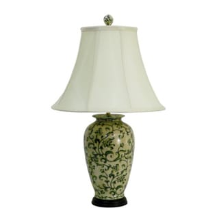 Green Scrolls Round Table Lamp