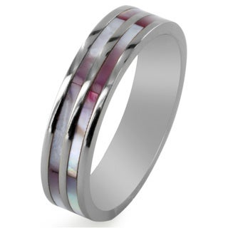 West Coast Jewelry Titanium Mother of Pearl Dual Stripe Inlay Ring