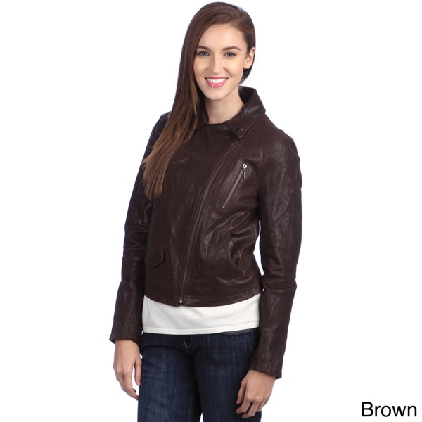 United Face Women's Washed Leather Biker Jacket