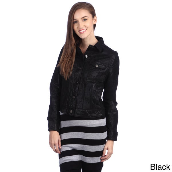 United Face Women's New Classic Leather Trucker Jacket